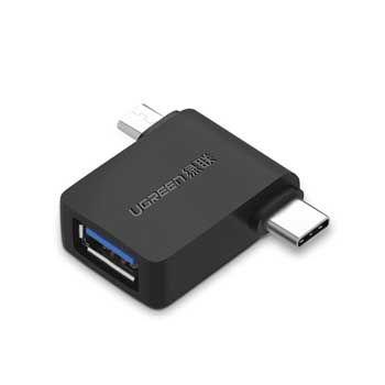 Đầu chuyển Micro USB + USB-C OTG sang USB 3.0 Ugreen 30453