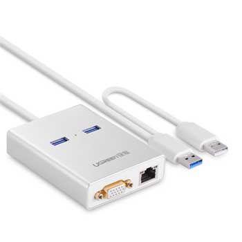 Bộ chuyển USB 3.0 to VGA / LAN 1000Mbps / Hub USB 3.0 2 Cổng Ugreen 40242
