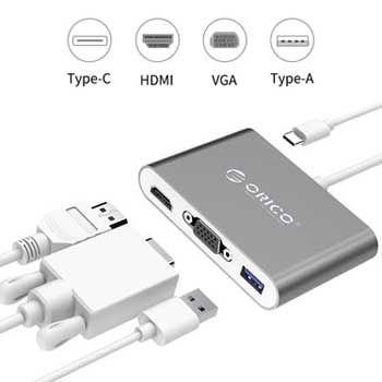 Đầu chuyển đổi USB Type C sang 4 cổng HDMI/VGA/Type C/USB 3.0 ORICO RCHV-SV
