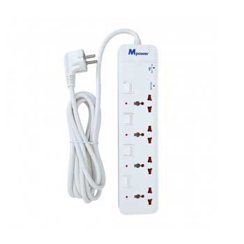 Ổ cắm điện dài 3m Mpower MP-343SU (4 lỗ 3 chân và 2 cổng USB)