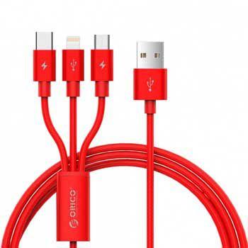 Cáp sạc Lightning/Type C/Micro B USB 2.0 ORICO UTS-12-RD